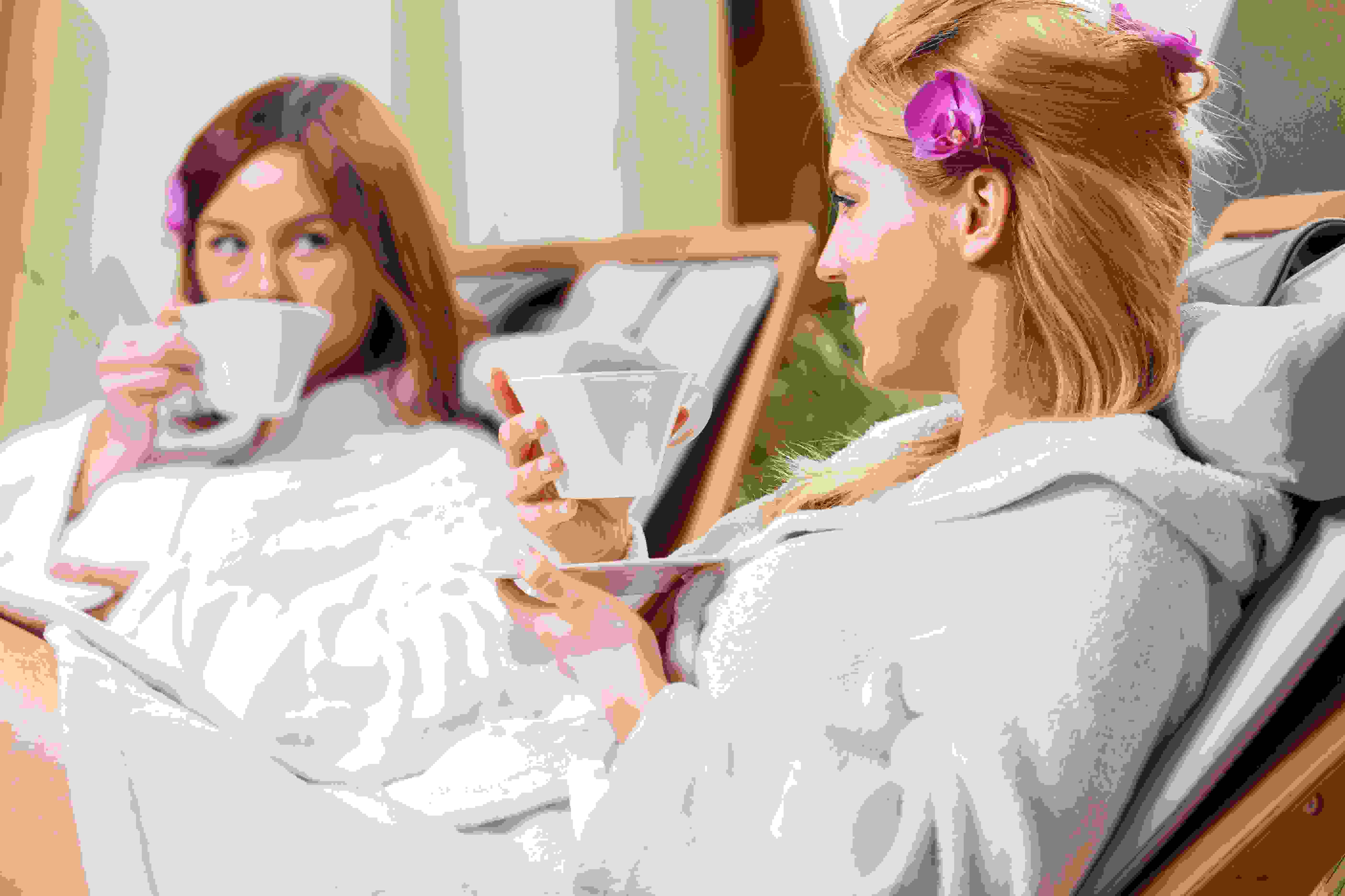 Ladies enjoying a cup of tea at the spa