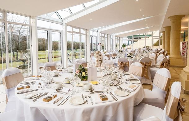 Banqueting wedding set up in Conservatory