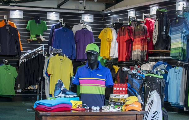 Clothing in golf pro shop