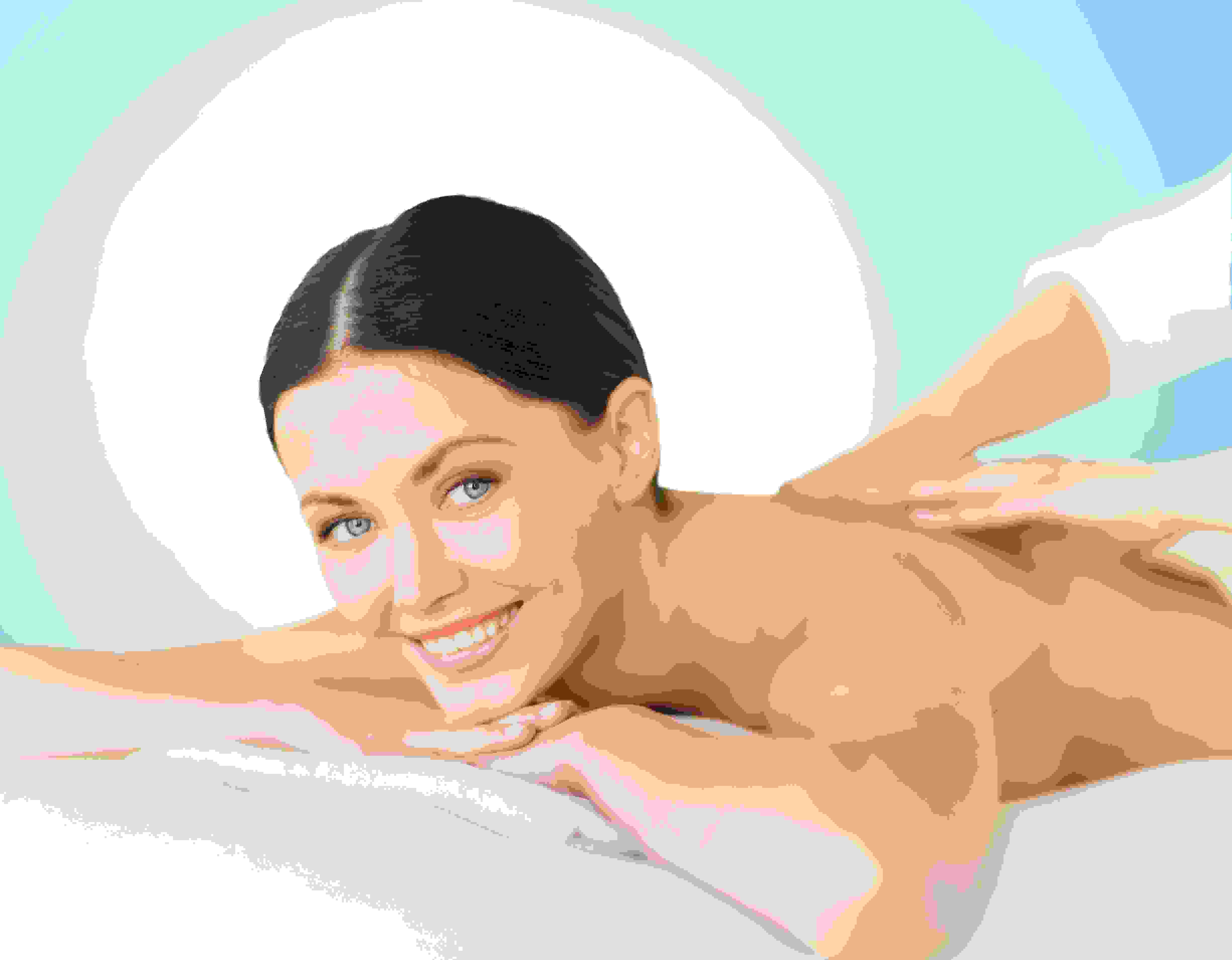 Smiling woman having a back massage