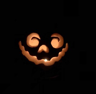 Face carved into pumpkin