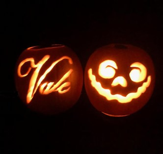 Vale logo and face pumpkin